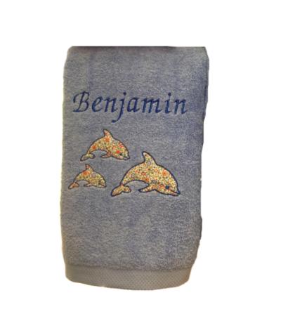 Toalla de ducha con nombre y dibujo de tela