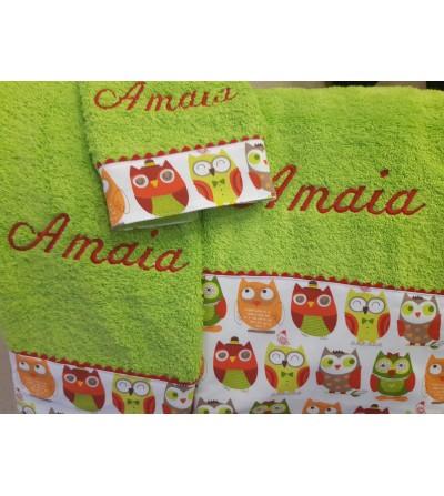 Juego de toallas con cenefa de tela con buhos, bordada con nombre